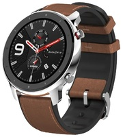 Смарт-Часы Amazfit GTR 47mm stainless steel case, leather strap